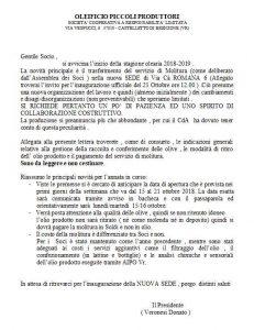 Comunicazione del Presidente Cooperativa in occasione Apertura nuovo frantoio di Magugnano di Brenzone