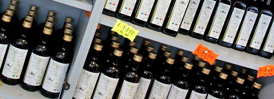 Bottiglie d'olio extravergine del lago di Garda